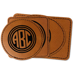 Round Monogram Faux Leather Iron On Patch (Personalized)