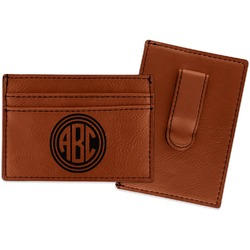 Round Monogram Leatherette Wallet with Money Clip (Personalized)