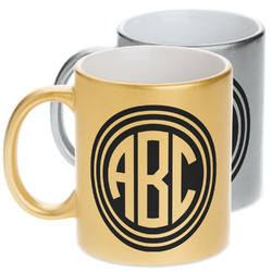 Round Monogram Metallic Mug (Personalized)