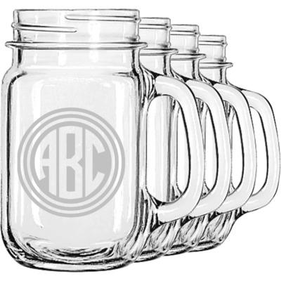 Round Monogram Mason Jar Mugs (Set of 4) (Personalized)