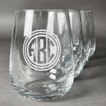 Round Monogram Stemless Wine Glasses (Set of 4) (Personalized)