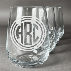 Round Monogram Wine Glasses (Stemless- Set of 4) (Personalized)