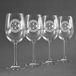 Round Monogram Wine Glasses (Set of 4) (Personalized)
