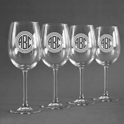 Round Monogram Wineglasses (Set of 4) (Personalized)