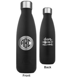 Round Monogram RTIC Bottle - Black - Engraved Front & Back (Personalized)