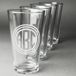 Round Monogram Beer Glasses (Set of 4) (Personalized)