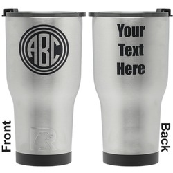 Round Monogram RTIC Tumbler - Silver - Engraved Front & Back (Personalized)