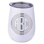 Round Monogram Stemless Wine Tumbler - 5 Color Choices - Stainless Steel  (Personalized)
