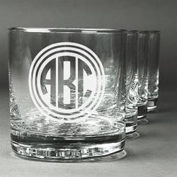 Round Monogram Whiskey Glasses (Set of 4) (Personalized)