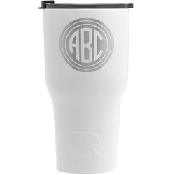 Round Monogram RTIC Tumbler - White - Engraved Front (Personalized)