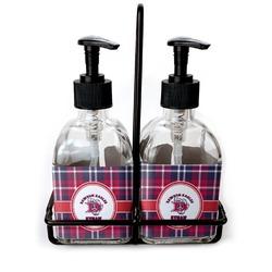 Dawson Eagles Plaid Soap & Lotion Dispenser Set (Glass) (Personalized)