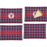 Dawson Eagles Plaid Set of 4 Rectangular Appetizer / Dessert Plates (Personalized)