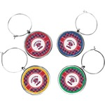 Dawson Eagles Plaid Wine Charms (Set of 4) (Personalized)