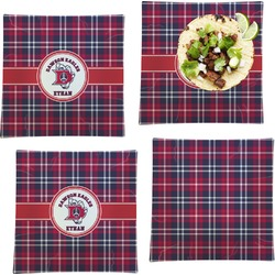 Dawson Eagles Plaid Set of 4 Glass Square Lunch / Dinner Plate 9.5