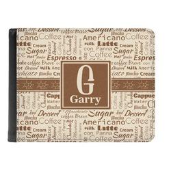 Coffee Lover Genuine Leather Men's Bi-fold Wallet (Personalized)