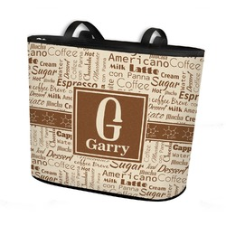 Coffee Lover Bucket Tote w/ Genuine Leather Trim (Personalized)