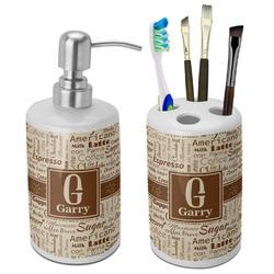 Coffee Lover Bathroom Accessories Set (Ceramic) (Personalized)