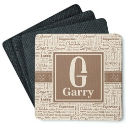 Coffee Lover 4 Square Coasters - Rubber Backed (Personalized)