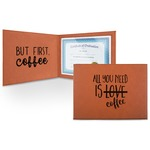 Coffee Lover Leatherette Certificate Holder (Personalized)