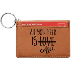 Coffee Lover Leatherette Keychain ID Holder (Personalized)