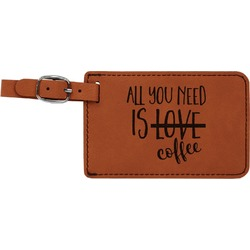 Coffee Lover Leatherette Luggage Tag (Personalized)