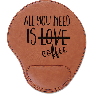 Coffee Lover Leatherette Mouse Pad with Wrist Support (Personalized)