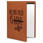 Coffee Lover Leatherette Portfolio with Notepad (Personalized)
