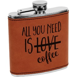 Coffee Lover Leatherette Wrapped Stainless Steel Flask (Personalized)
