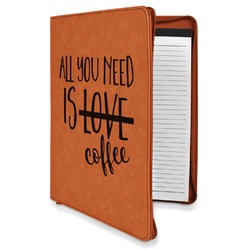 Coffee Lover Leatherette Zipper Portfolio with Notepad (Personalized)