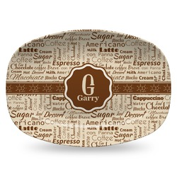 Coffee Lover Plastic Platter - Microwave & Oven Safe Composite Polymer (Personalized)