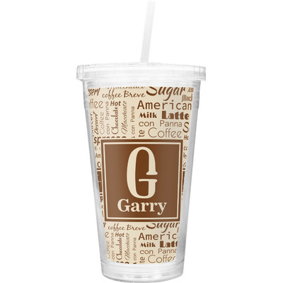 Coffee Lover Double Wall Tumbler with Straw (Personalized)