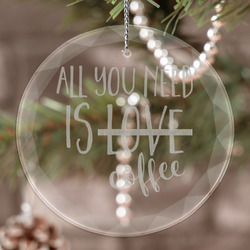 Coffee Lover Engraved Glass Ornament (Personalized)