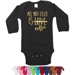 Coffee Lover Foil Bodysuit - Long Sleeves - 3-6 months - Gold, Silver or Rose Gold (Personalized)