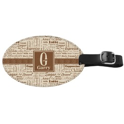 Coffee Lover Genuine Leather Luggage Tag (Personalized)