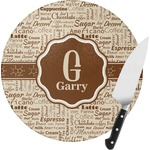 Coffee Lover Round Glass Cutting Board (Personalized)