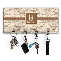 Coffee Lover Key Hanger w/ 4 Hooks (Personalized)