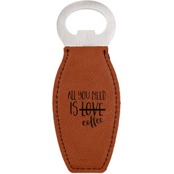 Coffee Lover Leatherette Bottle Opener (Personalized)