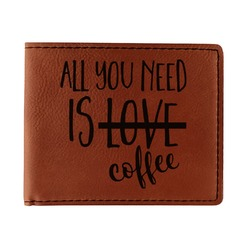 Coffee Lover Leatherette Bifold Wallet (Personalized)