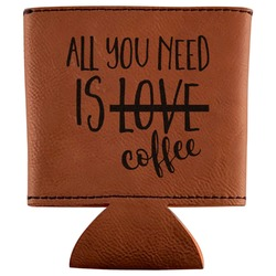 Coffee Lover Leatherette Can Sleeve (Personalized)
