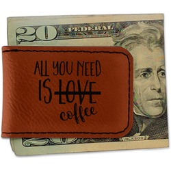 Coffee Lover Leatherette Magnetic Money Clip (Personalized)