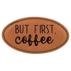 Coffee Lover Leatherette Oval Name Badge with Magnet (Personalized)