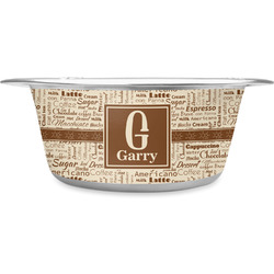 Coffee Lover Stainless Steel Dog Bowl (Personalized)