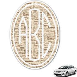 Coffee Lover Monogram Car Decal (Personalized)
