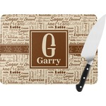 Coffee Lover Rectangular Glass Cutting Board (Personalized)