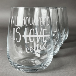 Coffee Lover Stemless Wine Glasses (Set of 4) (Personalized)