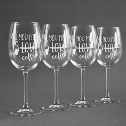 Coffee Lover Wine Glasses (Set of 4) (Personalized)