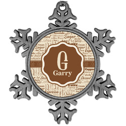 Coffee Lover Vintage Snowflake Ornament (Personalized)