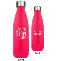 Coffee Lover RTIC Bottle - 17 oz. Pink - Engraved Front & Back (Personalized)