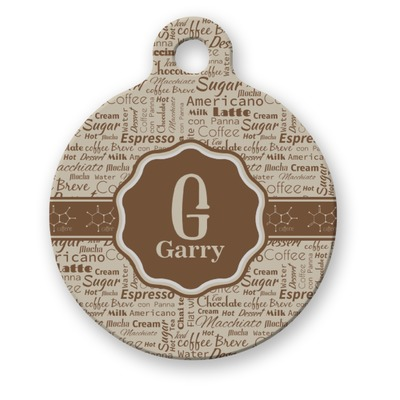 Coffee Lover Round Pet ID Tag (Personalized)