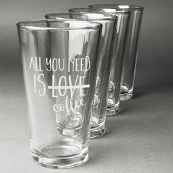 Coffee Lover Beer Glasses (Set of 4) (Personalized)